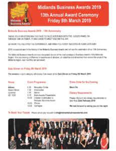 Midlands Business Awards Ceremony Details